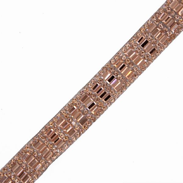 1 metre x 15 mm rose gold crystal strip